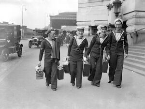 Sailors arriving at Waterloo on leave, complete with attache cases. 2 August 1929