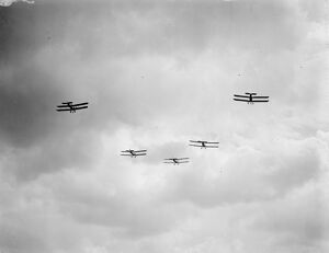 Saturday ' s Great Air Force Pageant at Hendon Bristol fighters flying in formation 2