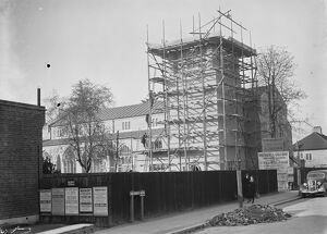 Scaffolding around the new Church, St Francis of Assisi, West Wickham. 1935