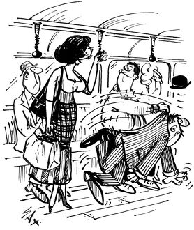 Give up your seat on a tube train. Cartoon by Sax Usually paying little or no attention