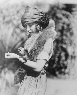 Smallest monkey in captivity. Miss Ruth Clifford, who bears a marked resemblance