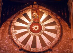 The so-called Round Table of King Arthur, at Castle Hall, Winchester. The twenty