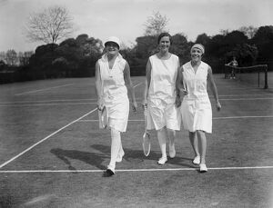 South African women tennis players practice at Hurlingham. Left to right, Miss E L Herne