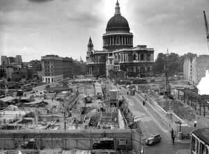St Pauls Cathedral dominates the view of the area north of Cannon Street (left) Rebuilding
