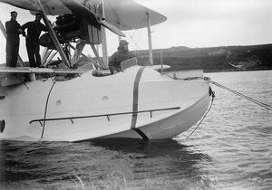 Start of the great air adventure . Four flying boats off to Singapore from Cattewater