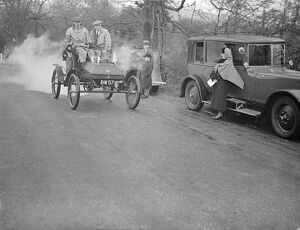 'Full steam ahead' in old crocks hill climb. Ancient cars, none later than 1904