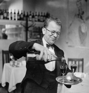 Stefan, the wine waiter at the de l'Elysee in Percy Street, Soho, London, England 18
