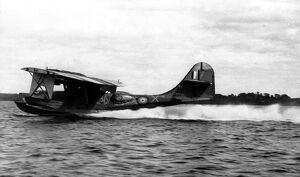 A striking picture of Cataline flying boat taking off on the 24-hour patrol over