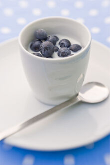 Summer breakfast of whole fresh blueberries in little bowl with cold milk credit