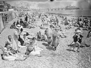 Sunday crowds at Eastbourne. Eastbourne was crowded with Sunday visitors who enjoyed