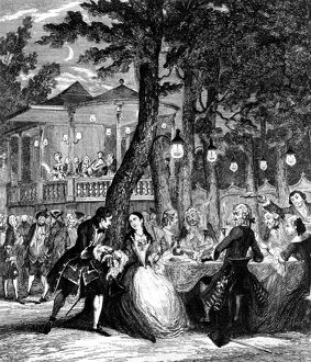 Supper at Vauxhall showing outdoor illumination probably 1800-1810 London History