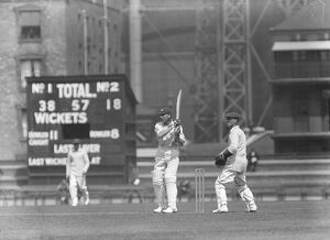 Surrey versus Gloucester at the Oval. Shepherd making an off drive. 11 May 1927