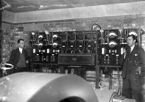 Switch Board at Commodore Cinema, Orpington, Kent in the 1930s, with cinema staff looking