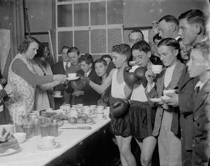 Tea break at the Eltham Boys Boxing Club . 1936