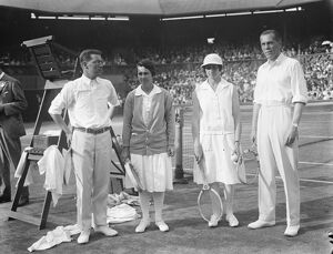 Tennis at Wimbledon. Finalists in mixed doubles. Left to right H O Kinsey, Miss Browne