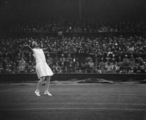 Tennis at Wimbledon. Miss Heine in play. 1 July 1929