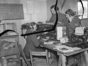 Territorial Army recruits at camp in Chichester, Sussex. The telephone operating room