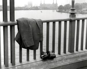 The tidy end of Mr X..... A jacket and shoes - on Vauxhall Bridge