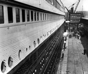 The Titanic moored at Southampton docks on April 10th 1912. The second class passenger