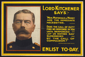 adverts posters/title lord kitchener says enlist to day photo