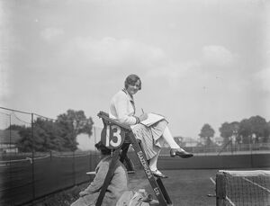 Titled umpire in Surrey tennis championships. Lady D Hely Hutchinson umpiring at