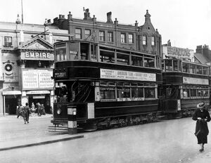 Trams outside the Islington Empire London 1 June 1936