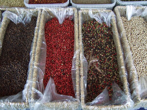 Various sorts of peppercorns on market stall in Edenbridge Kent credit: Marie-Louise
