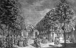 Vauxhall Gardens - engraving by L. J. Muller History of London - Vauxhall / Lambeth