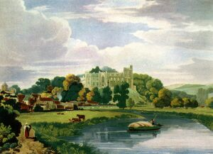 View of Arundel Castle, Sussex : Coloured engraving by Bailey after William Scott