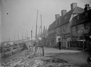 The back view of old cottages at Northfleet, Kent. 1938