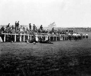 Votes for women, Suffragette Protest at 1913 Epsom Derby. As the horses swept round