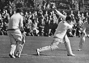 W Mervyn Wallace batting against Sussex in 1949 S C Griffith is keeping wicket