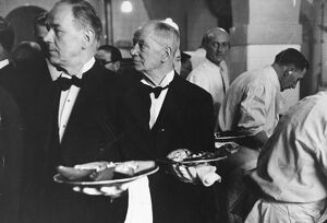 Waiters collect orders in the kitchen for the first course of a state banquet, Avocado