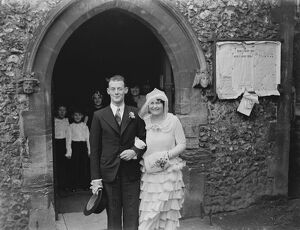 A wedding of a couple in Orpington, Kent. The bride and groom. 1939