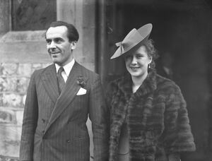 Wedding of Mr John Le Mesurier ( Haililey ) actor, and Miss June Melville ( daughter