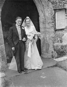 The wedding of Mr Martin O Sheffield and Miss Jean Wall. The bride and bridegroom