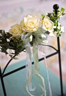 Three white rooses with stripey ribbons and ivy leaves as decorations tied to chair