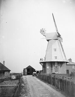 The Willesborough windmill, Ashford, Kent. Kentish smock mill. <br> 1935