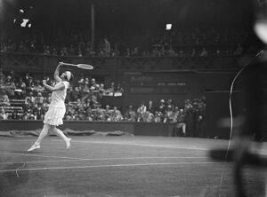 Wimbledon lawn tennis championships. Miss Joan Ridley in play against Miss H Jacobs