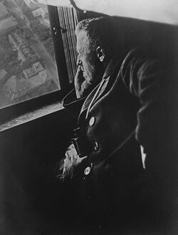 At the window of the new zeppelin. Dr Hugo Eckener, the constructor of the great