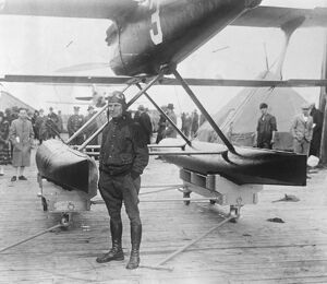 Winner of Schneider cup race Lt James H Doolittle , U S Army , with the Curtiss