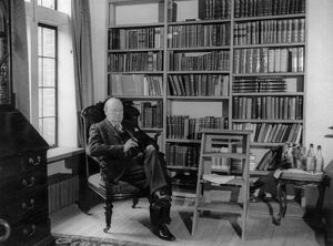 Winston Churchill at home in his library in Chartwell Westerham Kent