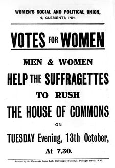 Women's Social and Political Union Votes for Women Help the Suffragettes to rush