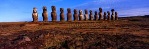 World.1 005. Easter Island. Fifteen gigantic status in a row. [Panoramic shot]