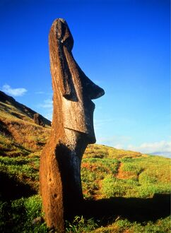 World.2. Easter Island. Statue on the slopes of the dominant extinct volcano, near